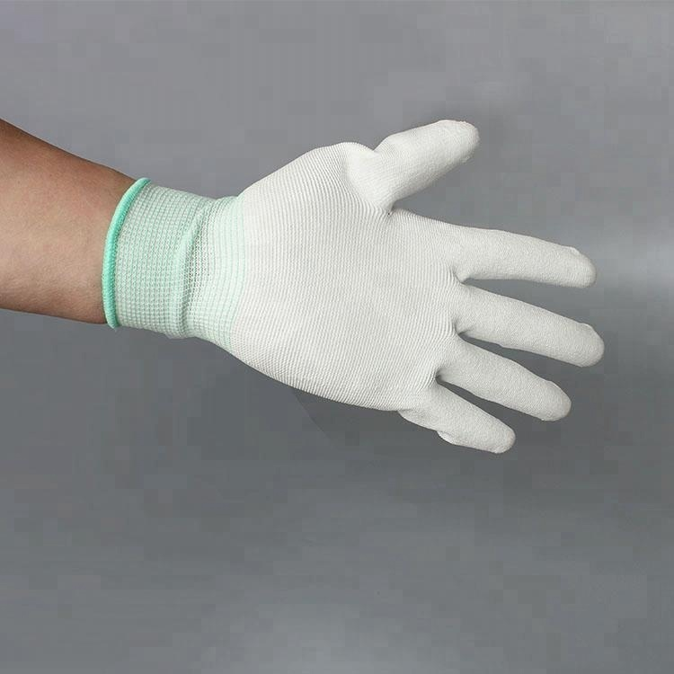 2019 Hot Sale Polyester White Esd Pu Safety Glove