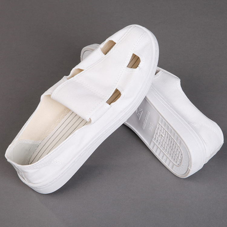 2019 Laboratory Cheap PVC/PU Sole Canvas 4 Holes Anti static Shoe Esd Shoes