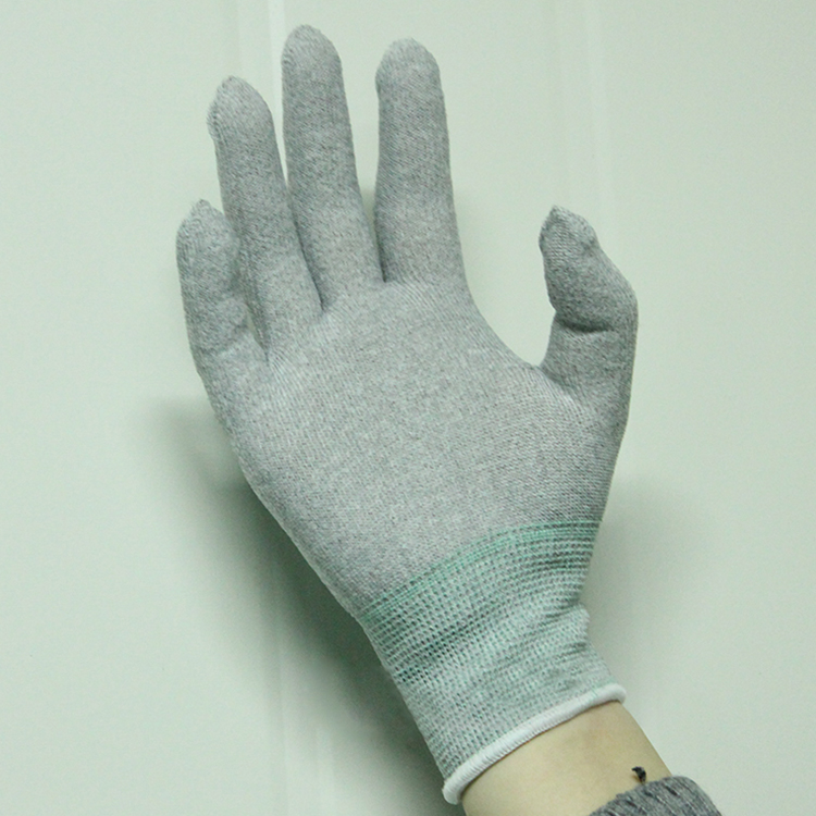 wholesale High Quality 13G Good Elasticity Carbon Fiber Knitted White PU Fingertips Coated Anti Static ESD Working Gloves