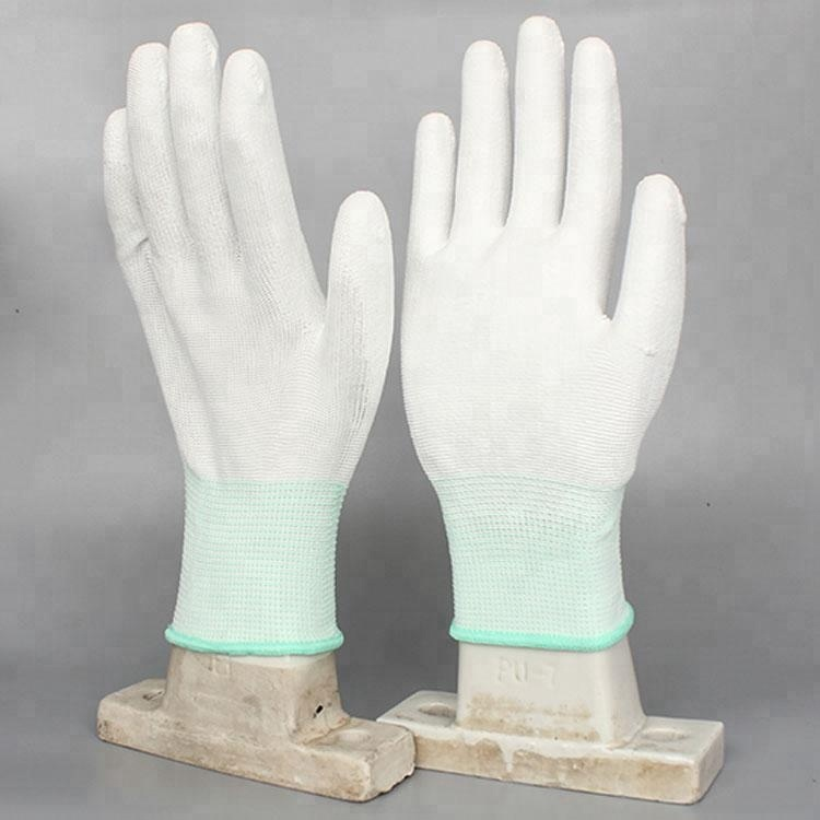 Hot Sale Manufacturers Pu Palm Coated knitted pu top fitted gloves